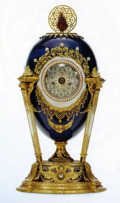 "The Faberge Imperial ""Cuckoo Egg (or Cockeral Egg)"" clock. 1900. Gift from Nicholas II to his mother, empress Maria Fiodorovna on Easter."