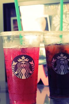 Starbucks passion tea and Iced coffee