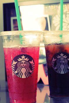 Starbucks passion tea and Iced coffee