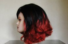 SALE // FLAMES of PASSION wig // Black Red Hair by MissVioletLace