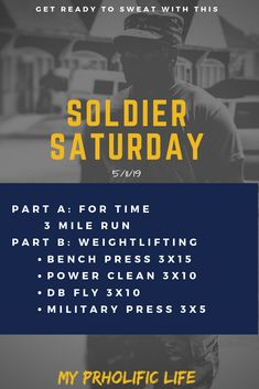 Soldier Saturday is a new FREE weekly workout program that is designed by an Army Sergeant. Weightlifing, powerlifting and cardio for overall fitness. Group Fitness, Fitness Diet, Health Fitness, Fitness Studio, Lifting Motivation, Fitness Motivation, Body Building Men, Gym Humor, Amigurumi