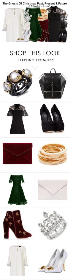 """""""The Ghosts Of Christmas Past, Present & Future - A Christmas Carol"""" by nerd-ville ❤ liked on Polyvore featuring self-portrait, Giuseppe Zanotti, Rebecca Minkoff, Kenneth Jay Lane, Verali, Aquazzura and Versace"""
