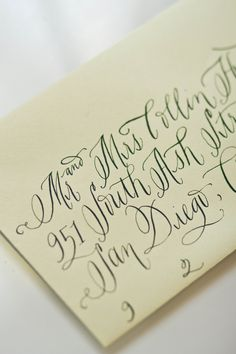 I love how this lettering is ornamental yet still legible Envelope Lettering, Calligraphy Envelope, Learn Calligraphy, Calligraphy Letters, Typography Letters, Modern Calligraphy, Envelope Addressing, Wedding Calligraphy, Beautiful Lettering