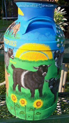 Milk jar goat painting | Schilderij van een geit op een melkbus | Peinture d'une petite chèvre sur un bidon à lait