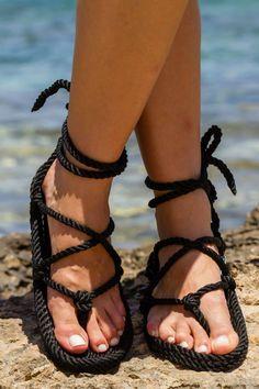 539c7632120e15 Handmade rope sandals. Romano black. Rope Sandals