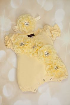 Yellow Bubble Romper Baby Girl Romper Set by MyLolliflopsLLC