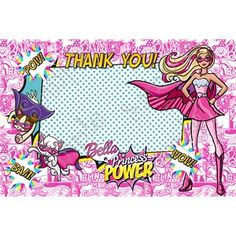 Barbie in Princess Power Birthday Party Invitation, FREE thank you card