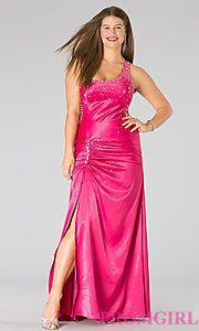 Buy One Shoulder Formal Plus Size Dress at PromGirl