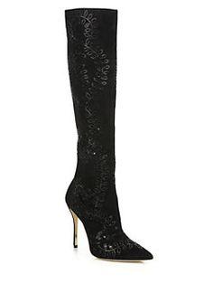 Oscar de la Renta - Espresi Crystal-Embellishede Suede Knee Boots $3290