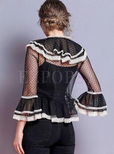 Shop Chic Color-blocked Polka Dot Flare Sleeve Falbala Blouse at EZPOPSY. Hip Bones, Shoulder Sleeve, Fashion Online, Zip Ups, Flare, Polka Dots, Blouses, Long Sleeve, Sleeves