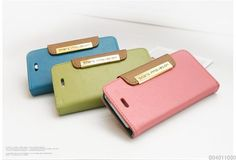 New Trendy Practical iPhone5 Natural Cowhide Leather Card Bill Slots Wallet Case