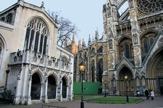 """St Margarets Church is on the left. The""""sightseers entrance"""" to Westminster Abbey is on the right."""