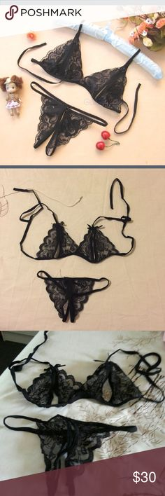 Sexy Black Lace Two Piece Lingerie Crotchless panties and lace bra size S/M Intimates & Sleepwear