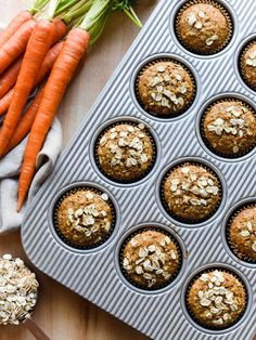 Start the day with muffins that are loaded with carrots and oats! This simple recipe for Carrot Oat Muffins are perfect for breakfast, brunch, or any time you need a sweet treat. Healthy Breakfast Muffins, Oat Muffins, Breakfast Cake, Breakfast Smoothies, Oatmeal Carrot Muffins, Carrot Cake Muffins, Breakfast Sandwiches, Cheap Clean Eating, Clean Eating Snacks