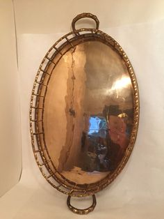 Large oval brass tray - bamboo look.