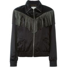 Saint Laurent fringed teddy jacket ($1,836) ❤ liked on Polyvore featuring outerwear, jackets, black, tops, letterman jacket, varsity bomber jacket, long sleeve jacket, varsity jacket and long sleeve jersey