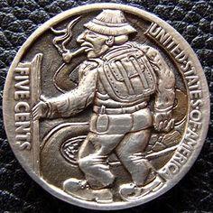 PAUL HOLBRECHT HOBO NICKEL - ON THE ROAD - 1915 BUFFALO NICKEL REVERSE CARVING Hobo Nickel, Coin Art, Gold Money, Greek Art, Art Forms, Sculpture Art, Buffalo, Art Nouveau, Coins
