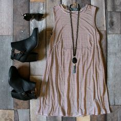 Our Stripe Babydoll Dress in Burgundy is just $35! Shop it with FREE SHIPPING!