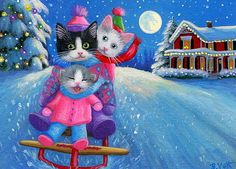 Kittens cat sledding Christmas winter moon snow original aceo painting art #Miniature