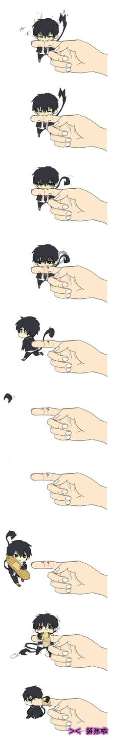 Rin from blue exorcist biting finger. So cute!!! Chibi