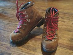 Vintage Vasque Red Lace Hiking Boots. I actually owned a pair just like these in the 1970's.