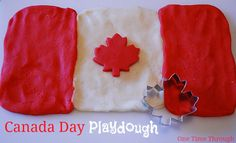 Great way to get kids talking about the Canadian flag and Canada Day!  {One Time Through} #sensory #CanadaDay #playdough