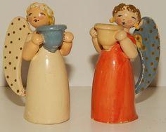 2 Vtg 1930s Wendt & Kuhn Erzgebirge Christmas Angel Candle Holders Germany
