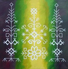 Traditional Latvian folk symbols on green colours. Acrylic on canvas, 40x40cm. By Brigita Ektermane.