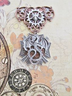 Steampunk Red Dragon Silver and Copper Dragon by TerribleMischief