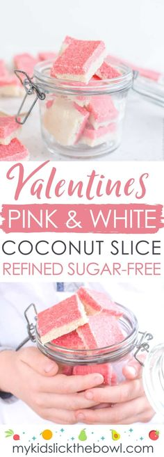 Healthy Coconut Ice - Way less sugar than most!- Valentines Pink and White Coconut Slice healthy idea for kids This coconut ice slice an easy recipe, low sugar, paleo, vegan Rosa Snacks, Pink Snacks, Coconut Slice, Coconut Ice Recipe, Valentines Day Food, Valentines Recipes, Pink Foods, Cereal Recipes, Raw Recipes