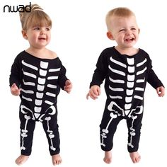2017 Spring Autumn Baby Rompers Bone Printing Toddler Boys Girls Halloween Clothing Long Sleeve One Pieces Jumpsuit  FF190 #Affiliate