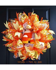 Orange and Yellow Candy Corn Wreath   CraftOutlet.com Photo Contest - Wreaths & More by Jenn