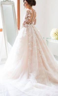 Long-Sleeve Floral Applique Blush Ballgown Wedding Dress