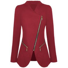 SheIn(sheinside) Red Long Sleeve Oblique Zipper Pockets Coat ($33) ❤ liked on Polyvore featuring outerwear, coats, jackets, casacos, red, red coat, long sleeve coat and short coat