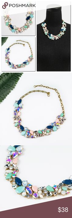 "J.Crew Mixed Stones Crystal Statement Necklace 🔹Brand new. 🔹Comes with a J.Crew dust pouch 🔹No trade. 🔹Only reasonable offers will be considered.    Aqua blue, Pink, Deep blue Glass and epoxy stones. Light gold ox plating. Length: 17 1/2"" with a 3"" extender chain for adjustable length. J. Crew Jewelry Necklaces"
