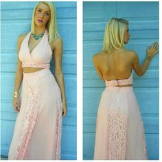 Romantic pink lace two piece derss This has never been worn or washed. Only tried on. NWOT. Boutique  Dresses Maxi