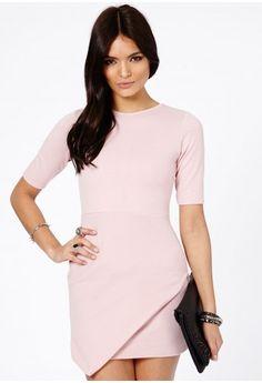 Baby pink dress :) Missguided - Bonitta Origami Mini Dress In Dusky Pink
