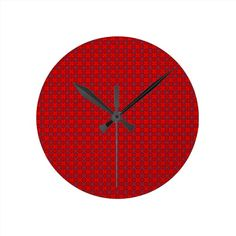 Red Add Text Wall Clocks!  #add #text #pattern #graphic #zazzle #store #customize http://www.zazzle.com/patternsbydww25921  I decided to make a store full of pattern backdrops where folks can add their own text.  We shall see if this works out.  I kind of like how it turned out.