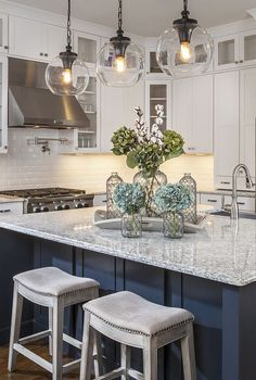 Glass Pendant Lights Over Kitchen Island, Round Pendant Lights, Contemporary Kitchen Pendants, Kitchen Lighting Ideas