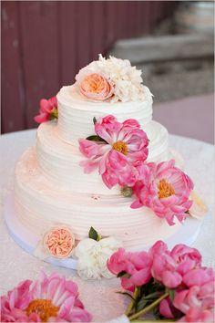 { Ask Cynthia }  Pink flowers on wedding cake.