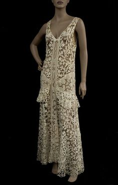French silk lace dress, 1930s from the Vintage Textile archives.