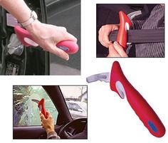 The Car Bar- a cool little device to provide some leverage and assistance in getting out of the car, reaching for a seatbelt and breaking the cardoor glass in the event of an emergency.