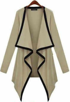 Khaki Long Sleeve Draped Front Cardigan pictures