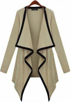 Khaki Long Sleeve Draped Front Cardigan