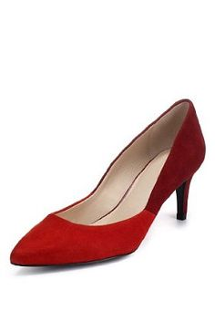 Autograph red suede two tone court shoes with insolia® for the more sophisticated occasions. Kinds Of Shoes, Court Shoes, Office Wear, Vintage Shoes, Red Shoes, Womens Flats, Shoe Boots, Kitten Heels, Pumps