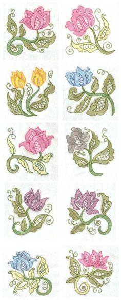 Jacobean Lace Flowers Embroidery Machine Design Details