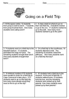 Basic Word Problems Workbook Page 1 Sample