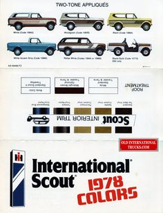 The Kirkham International Motortruck Collection A great reference for the history of your International truck, you can check this page for the colours you'll want to use for your restoration project. Navistar International, International Harvester Truck, International Pickup Truck, Cool Trucks, Big Trucks, Internacional Scout, Lifted Ford Explorer, Vintage Pickup Trucks, Old Ads
