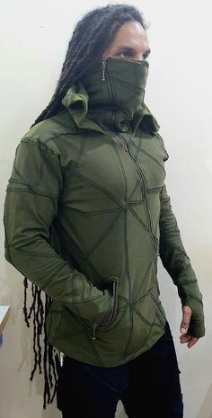 Raven the Second unisex Riding hoodieninja hoodie zipped Tactical Wear, Tactical Clothing, Psytrance Clothing, Cyberpunk Clothes, Cyberpunk Fashion, Burning Man Outfits, Festival Outfits, Festival Clothing, Mens Fashion