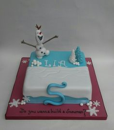 Frozen themed cake with singing Olaf